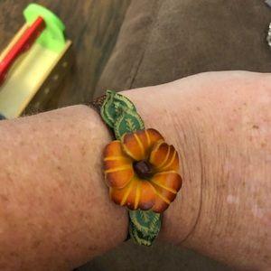 Gold Rose Floral leather bracelet adjustable 7 1/2